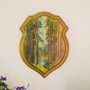 Vintage Paint-by-Number Floral Plaque Shield  |  Wall Art