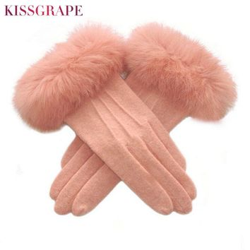 Touch Screen Women's Winter Warm Cashmere Gloves with Big Rabbit Fur Ladies Luxury Quality Wool Gloves Double Layer Warm Mittens