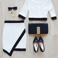 Black-Lined White Two-Piece Dress