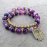 Transformation, Purple agate 27 bead mala wrap bracelet™