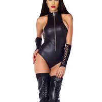Dark Fantasy Fetish Zipfront Metallic Bodysuit