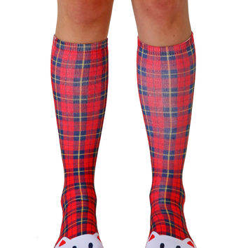 Steph Stone Plaid Cat Knee High Socks
