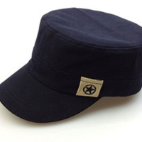 Simple Flat top hat(Navy)  ,The best choice in summer ,A perfect gift for her \ him