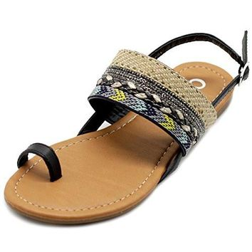 Back Boho Flat Sandals Ollio Women's Shoes Ethnic Toe Ring Sling Rubber sole Tribal Fabric