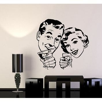 Vinyl Wall Decal Alcoholic Cocktail Bar Pin Up Style Retro Art Stickers (3251ig)