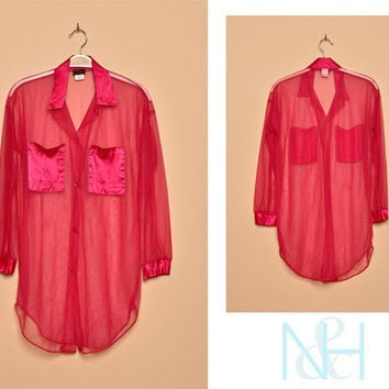 Vintage 1990s Pink Sheer Button-Up with Chest Pockets