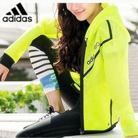 ADIDAS Fashion hot mesh zipper hoodie jacket