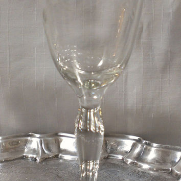 Pair of Etched Crystal Toasting Glasses, Wine Glasses (656)