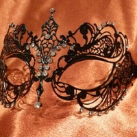 Venetian mask Black mask Masquerade Ball mask Laser-Cut metal mask with Rhinestones:Amazon:Everything Else