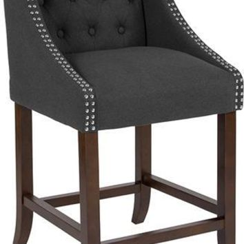 "Carmel Series 24"" High Transitional Tufted Walnut Counter Height Stool with Accent Nail Trim in Black Fabric"