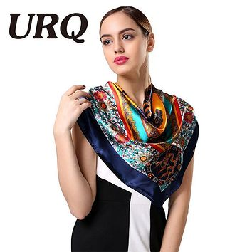 1PC 90*90cm Fashion national style dragon printed square satin silk scarves bandana S9A9143