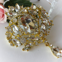 "Swarovski Crystal Gold Tone Bridal Brooch ""The Chandelier"", Wedding Brooch, Brooch Pin, Rhinestone Brooch, Vintage Brooches, Wedding Jewelry"