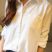 White Shirt Collar Chest Pocket Long Sleeve Blouse