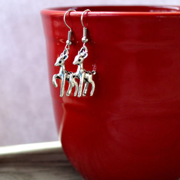 Deer Earrings -  Woodland - Christmas - Winter Jewelry - Doe - Silver - Woodland - Reindeer - Gifts Under 25