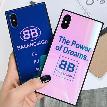 BALENCIAGA Trending Stylish Luxury Glass Mobile Phone Shell Letter Logo Soft Case For Iphone 7plus Iphone X iPhone 6s/8plus I12291-1