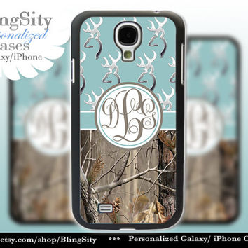 Monogram Galaxy S4 case S5 Browning Blue Real Tree Camo Deer Personalized RealTree Samsung Galaxy S3 Case Note 2 3 Cover