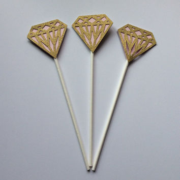 Glittered Diamond Cupcake topper on lollipop sticks. Bridal Shower Cupcake topper, Wedding Cupcake topper, Gold and blush pink  partypicks