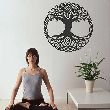 tree of Life wall decals Tree Decor Celtic wall decals for Living Room for Yoga Studio Decor kik3338