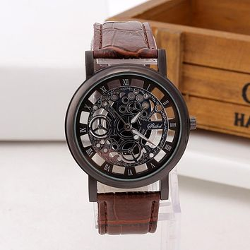Fashion Skeleton Leather Men Military Watch