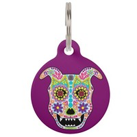 Doggy sugar skull pet ID tag