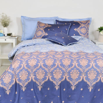 Navy, Baby Blue Damask Duvet Cover Set in Full Queen King Size - Damask Print Pure Cotton Sateen Fabric - Moroccan Style, Boho Bedding