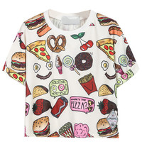 2015 Latest New Women Casual Fast Food Print T Shirt Crop Top One Size In White/Black Free Shipping-in T-Shirts from Women's Clothing & Accessories on Aliexpress.com | Alibaba Group