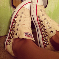 Custom Fully Studded Buttercream Converse All Star - Chuck Taylors ALL SIZES & COLORS!!!