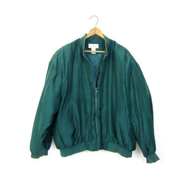 80s green silk puffer jacket Puffy minimalist quilted coat zipper up silk jacket DELLS 1980s minimal hipster coat women's size Large
