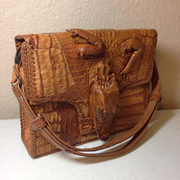 Vintage Alligator Leather Handbag with Baby Alligator on the Front and Back