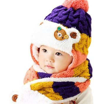 Crochet Knitted Hat and Scarf Twin set Winter Baby Cute Bear Purple