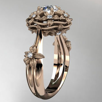 "14kt  rose gold diamond floral, leaf and vine ""Basket of Love"" ring  ADLR94 nature inspired jewelry"