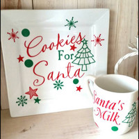 Cookies for Santa plate Set,Vinyl Decorated Santa Plate, Cookies, Santa, Santa's Milk Cup, glass plate and mug, vinyl decorated, Christmas