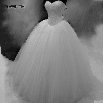 WDH5 Puffy Tulle Ball Gown Wedding Dresses 2016 Beaded Vestido de noiva Lace-up Back Robe de mariage White Gowns