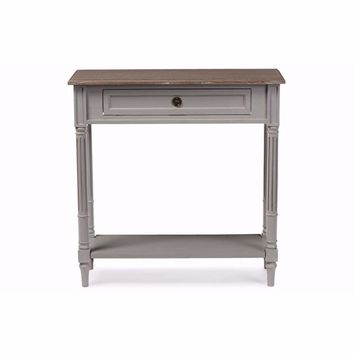 Edouard French Provincial Style White Wash Distressed Two-Tone 1-Drawer Console Table By Baxton Studio