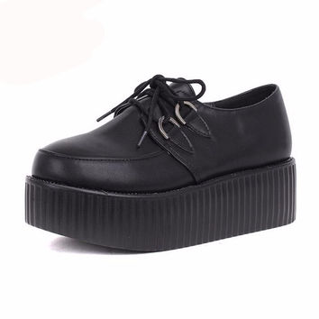 British Goth Punk Creepers Flats Lace up Skull t Shoes