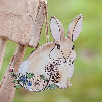 Sweet Floral Bunny Wood Ornament
