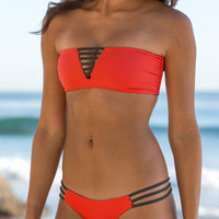 The Girl and The Water - MARY GRACE SWIM - Luna Bikini Top Anthracite/Coral