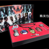 6pcs/set Marvel Avengers Cosplay Weapons Metal Necklace Pendant Keychain Key Ring