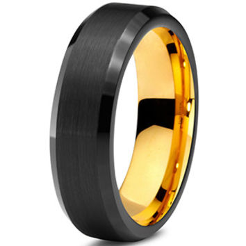 6mm Yellow Gold Tungsten Beveled Black Pipe Cut