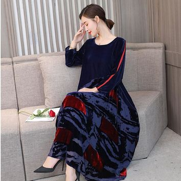 Big Size New Design Chinese Style Women Robe Velvet Color Block Patchwork Elegant Autumn Loose Print Silhouette Bottom Dress Hot