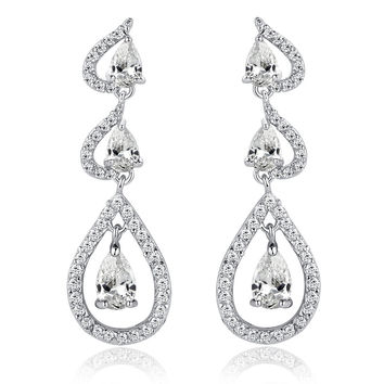 Joining Hearts W. Clear Teardrop and Round Cubic Zirconia Chandelier Earrings
