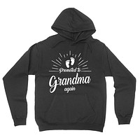 Promoted to grandma again pregnancy announcement new grandma grandmother to be baby reveal for grandparents hoodie