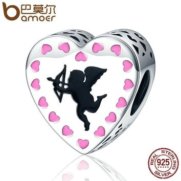 Romantic 925 Sterling Silver Cupid's Love Cupid Arrow Pink Heart Beads fit Charm Bracelet Jewelry Lover Gift SCC143