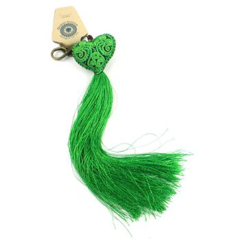 Heart Tassel key chain - Green - Global Groove (A)