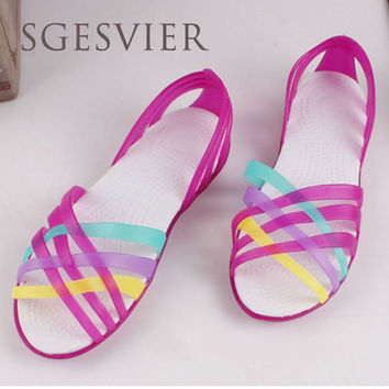 SGESVIER  Women Sandals 2017 Summer New Candy Color Peep Toe Beach Valentine Rainbow Croc Jelly Shoes Woman Wedges Sandals	G832