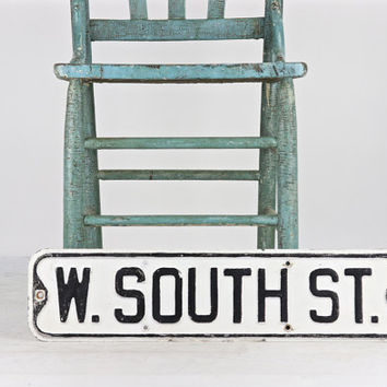 Street Sign, Vintage Street Sign, Black And White Street Sign, Old Street Sign, Metal Street Sign, Rustic Decor, Industrial Decor