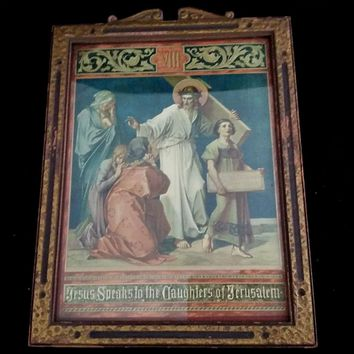 """Antique Eighth Station of the Cross: """"Jesus Speaks to the Daughters of Jerusalem"""""""