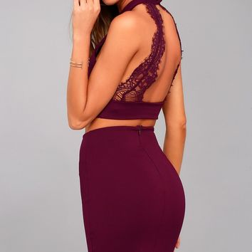 Chic My Interest Burgundy Lace Two-Piece Dress