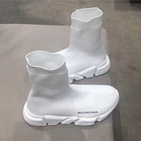 Balenciaga Black and white Speed Trainer with White Textured Sole