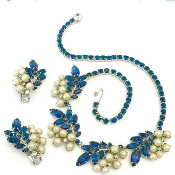 Hattie Carnegie Demi, Necklace Earrings Set, Sapphire Blue & Ice Rhinestones, Faux Pearl, Floriated Design, Wedding Jewelry, Designer Signed